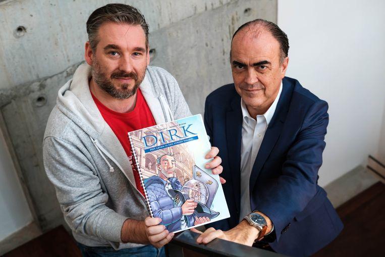 Striptekenaar Mario Boon en dr. Luc Colemont.
