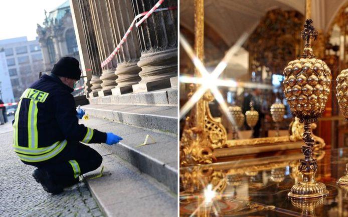 Een rechercheur zoekt sporen bij de ingang van het museum.