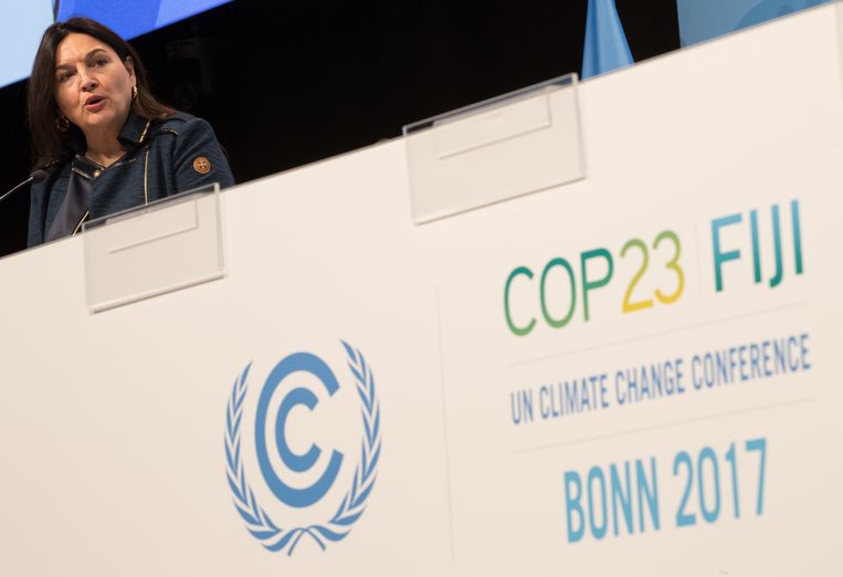 Minister van Energie, Leefmilieu en Duurzame Ontwikkeling Marie-Christine Marghem gaf donderdag een speech op de klimaattop in Bonn. Beeld BELGA