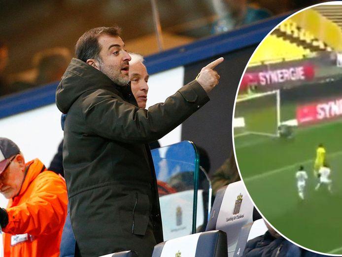 Links: Bayat in de tribunes van Charleroi in februari 2019. Rechts: de late en erg zure tegengoal van Nantes.