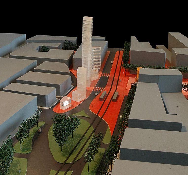 Een simulatiebeeld van het nieuwe Heldenplein in Heist, waar in het midden de Heldentoren in drie delen gepland staat.