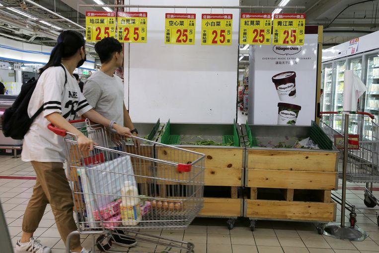 Groenten zijn al uitverkocht in de supermarkt.