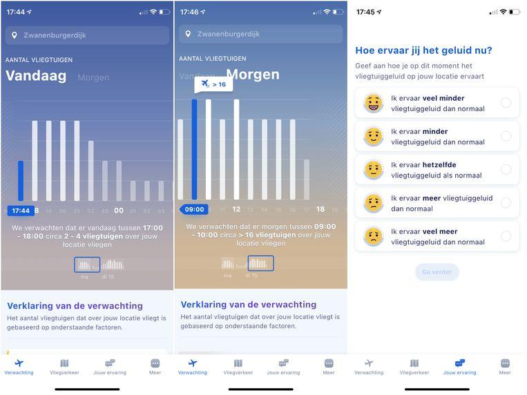 De app Notifly voor iPhones en Android-toestellen geeft omwonenden van Schiphol een vooruitzicht van de hinder. Beeld Schiphol
