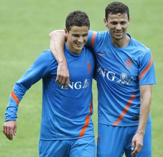Marokkanen in Oranje: Ibrahim Afellay en Khalid Boulahrouz.
