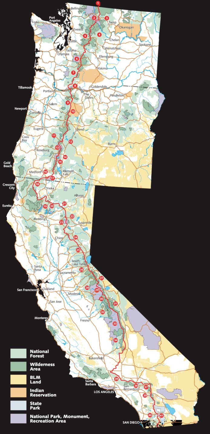 L'itinéraire du Pacific Crest Trail va de la frontière du Mexique à la frontière du Canada.