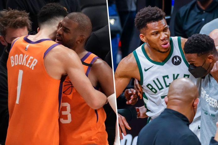 De supersterren in de NBA-finals: Devin Booker en Chris Paul van de Suns, en de geblesseerd uitgevallen Giannis Antetokounmpo van de Bucks.