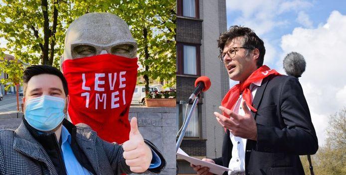 Brent Meuleman (Vooruit) en Steven De Vuyst (PVDA) vierden zaterdag elk op hun manier de Dag van de Arbeid.