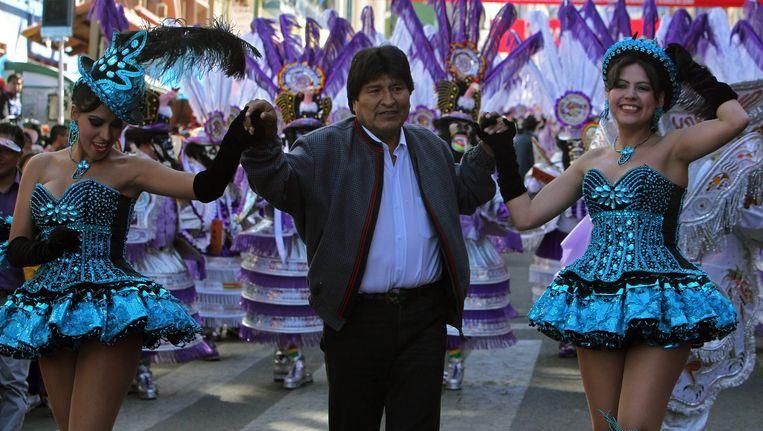 De Boliviaanse president Evo Morales neemt deel aan het Festival of The Great Power in La Paz, Bolivië. Beeld EPA