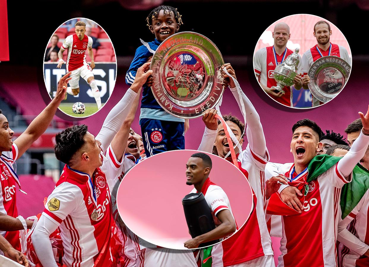 Het jongetje die de kampioensschaal aan Ajax uitreikte wordt opgetild en mag zelf even poseren. Inzetjes: Noa Lang, Davy Klaassen en Daley Blind en Ryan Gravenberch.