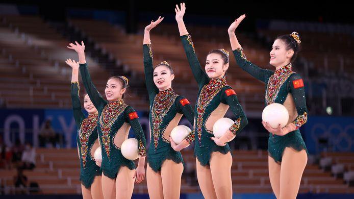 De Chinese ploeg ritmische gymnastiek.