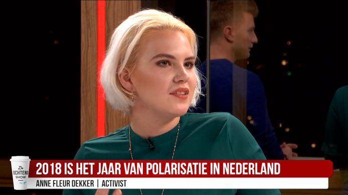 Activist Anne Fleur Dekker bij AD Ochtendshow To Go
