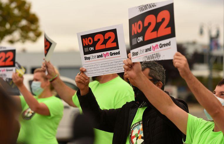 Tegenstanders van het referendum nummer 22 in Californië.  Beeld AFP