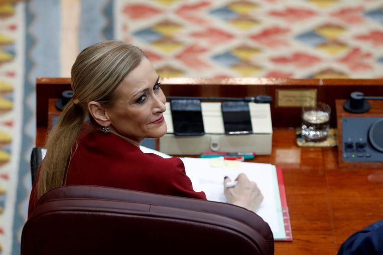 Cristina Cifuentes, politica van de Volkspartij (PP) en regiopresident van Madrid. Beeld EPA