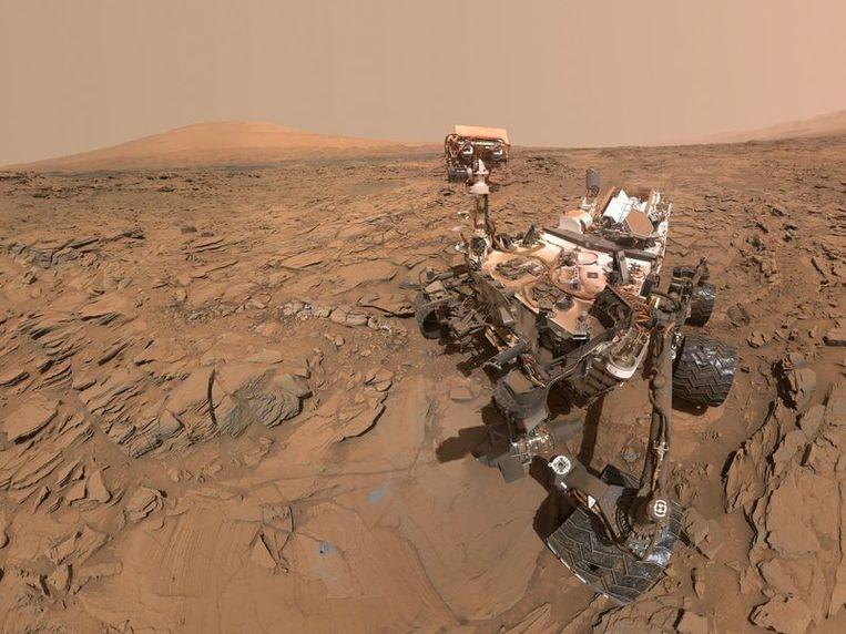 Selfie van Marswagentje Curiosity, die nieuwe metingen deed. Beeld Nasa jpl