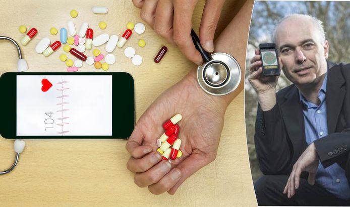 """Prof. dr. Koen Kas, moleculair oncoloog (UGent), gezondheidsfuturoloog en CEO van Healthskouts: """"Voor de pandemie uitbrak, kende ik geen enkele arts die teleconsultaties deed. Inmiddels hebben al drie miljoen patiënten het digitale dokterskabinet bezocht."""""""