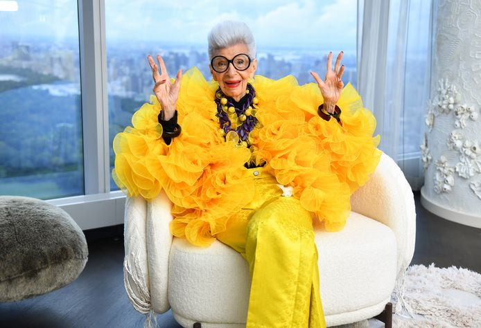 Iris Apfel tijdens haar 100e verjaardag in New York City