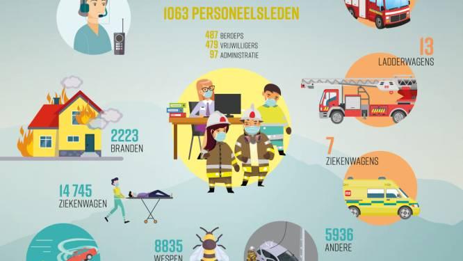 Gemiddeld zes branden per dag voor brandweerzone Centrum in 2020, meest uitgerukt voor wespennesten