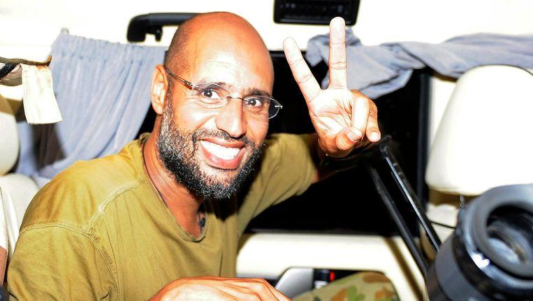 Saif al-Islam in augustus 2011, middenin de Libische revolutie Beeld Reuters