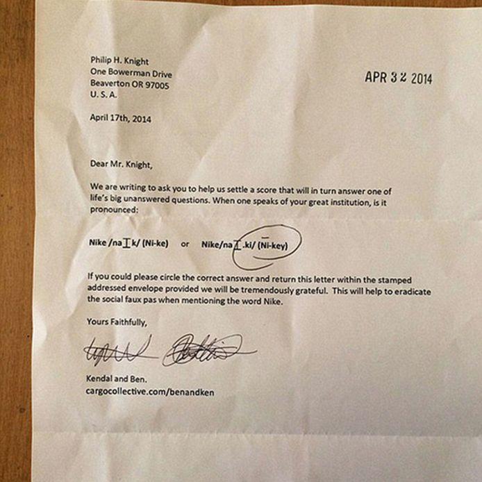 De brief die 'Ben en Ken' naar de mede-oprichter van Nike schreven