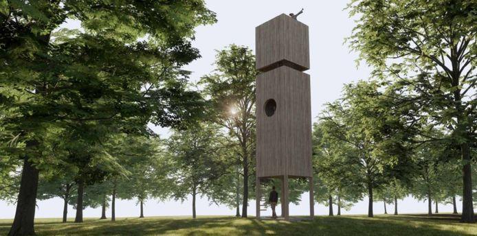 Landschapspark de Bulkenaar Roosendaal. Het boomtoppen-platform, ofwel de uitkijktoren.