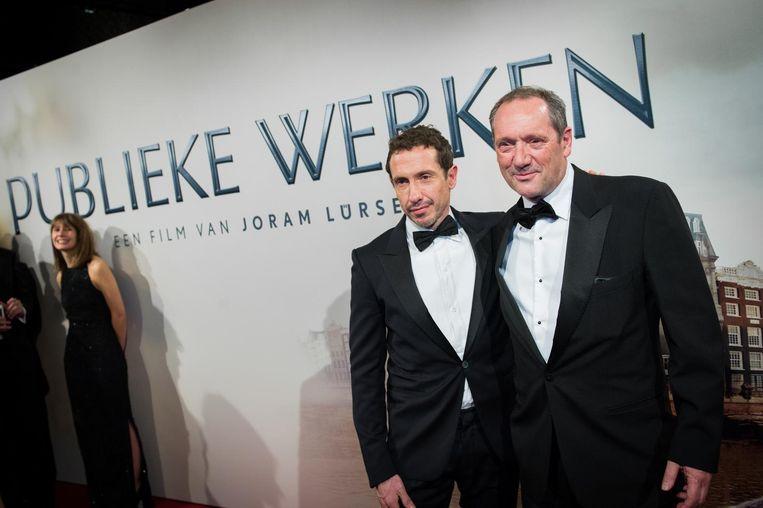 Gijs Scholten van Aschat (R) en Jacob Derwig bij de premiere van de film Publieke Werken in het Concertgebouw. Beeld anp
