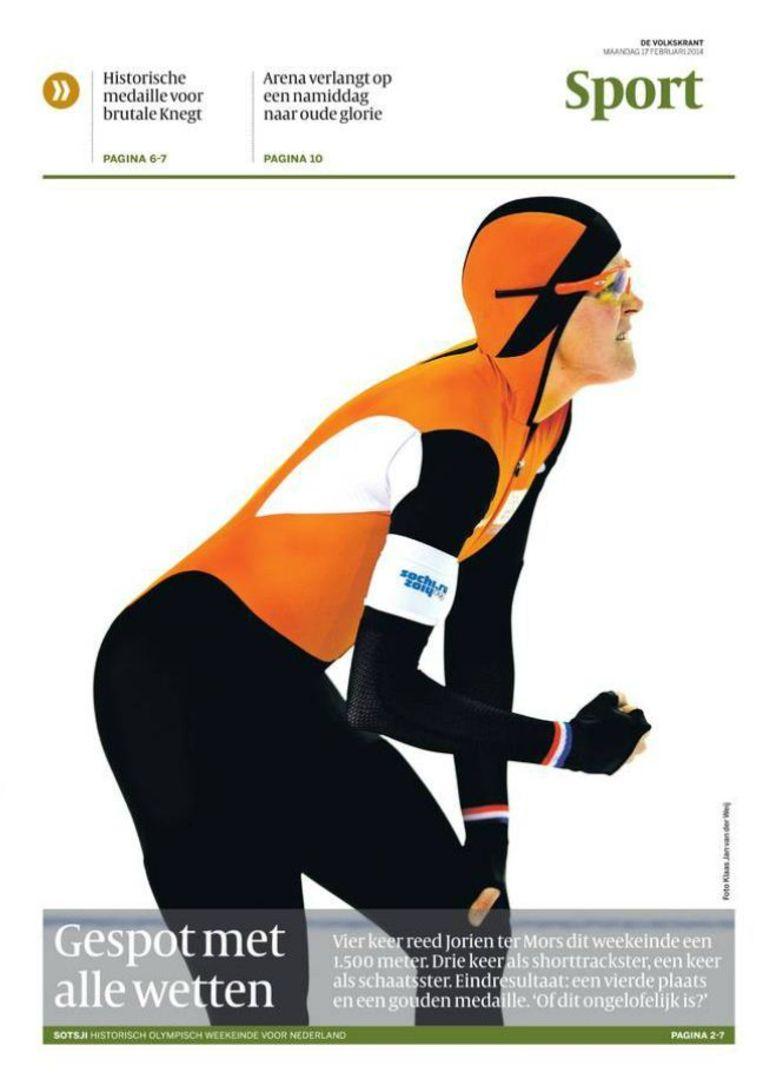 De voorpagina van het sportkatern van de Volkskrant vandaag. Beeld de Volkskrant