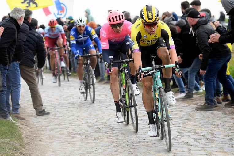 Wout van Aert, hier in 2019 tijdens Parijs-Roubaix. Beeld Photo News