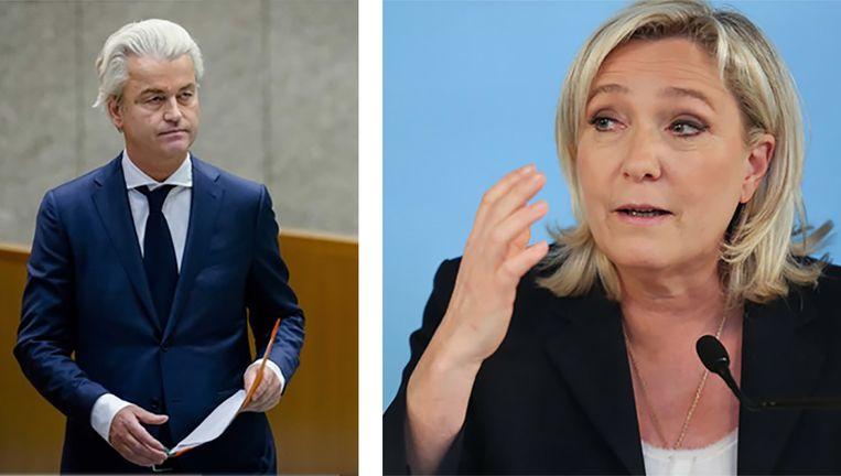 De Nederlandse politicus Geert Wilders en de Franse rechtse politica Marine Le Pen. Beeld Photo News
