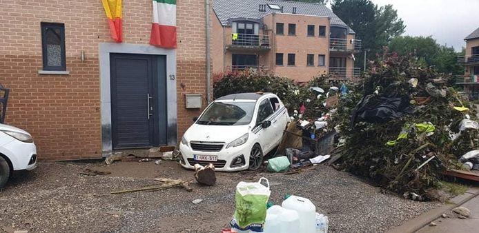 Inondations rue du Parc, à Trooz.