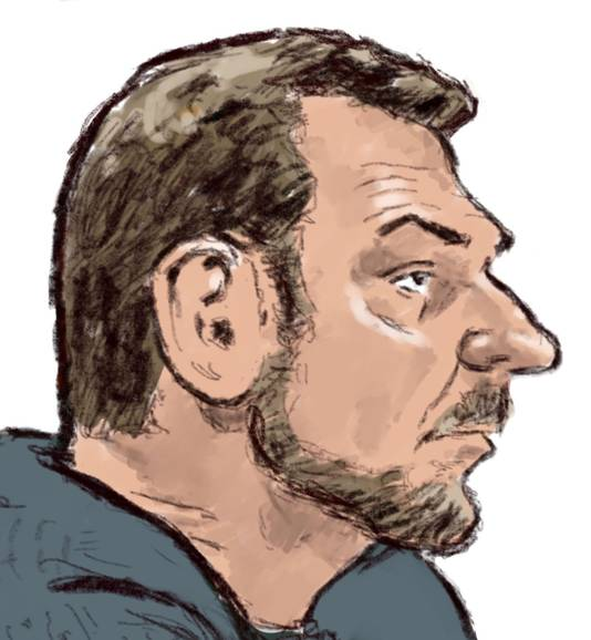 Rechtbanktekening van verdachte Jos Brech tijdens dag een van de inhoudelijke behandeling.