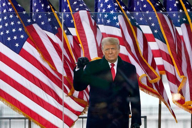 Donald Trump tijdens de demonstratie woensdag in Washington. Beeld AP