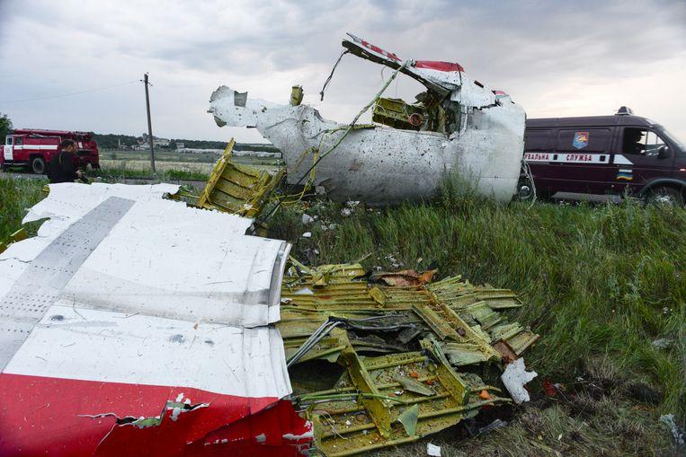 Wrakstukken van de Maleisische Boeing die in juli 2014 boven rebellengebied in het oosten van Oekraïne werd neergeschoten.  Beeld EPA