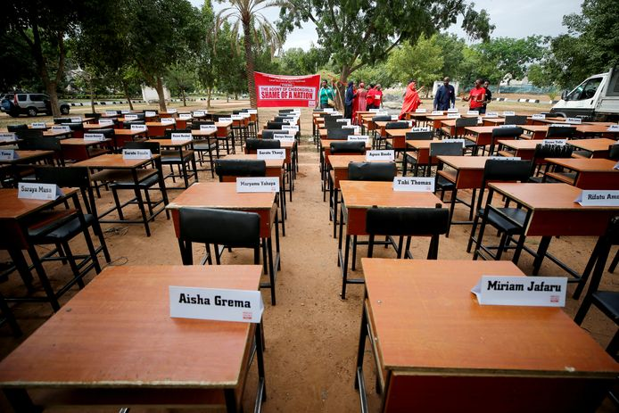 De namen van de vermiste meisjes van Chibok werden tentoongesteld.