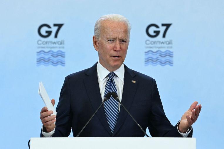 De Amerikaanse president Joe Biden op een persconferentie op de laatste dag van de G7-top,  Cornwall Airport Newquay, 13 juni. Beeld AFP