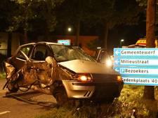 Automobilist botst op verkeerborden en boom in Haaren; getuigen zien bestuurder iets verstoppen
