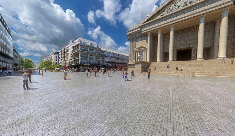 Vorderingen voetgangerszone: 3D voorstelling van het plein voor het beursgebouw.