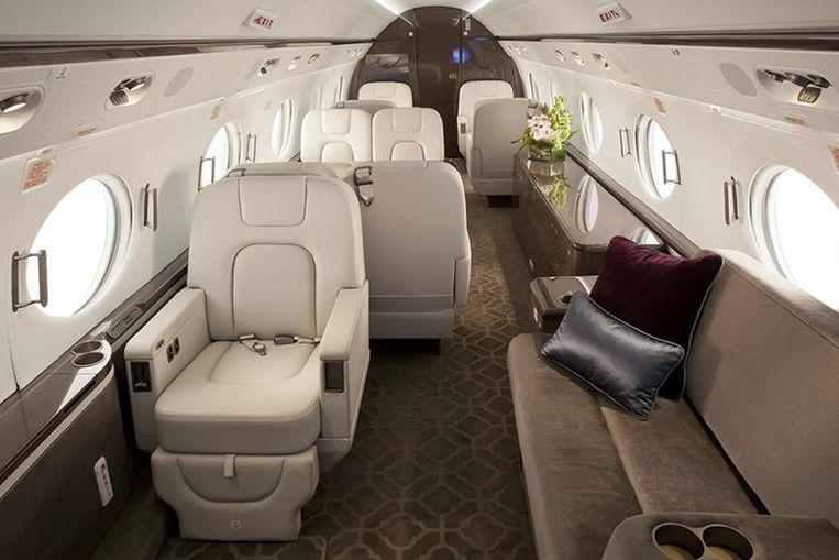 De binnenkant van de Gulfstream G550.
