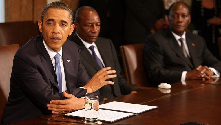 Barack Obama (links) overlegde met de presidenten van Guinea en Ivoorkust. Beeld EPA
