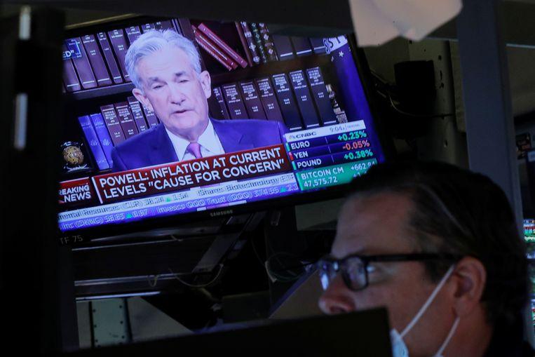 Op de Amerikaanse beurs volgen handelaren de belangrijke toespraak van de voorzitter van de Amerikaanse centrale bank. Beeld REUTERS