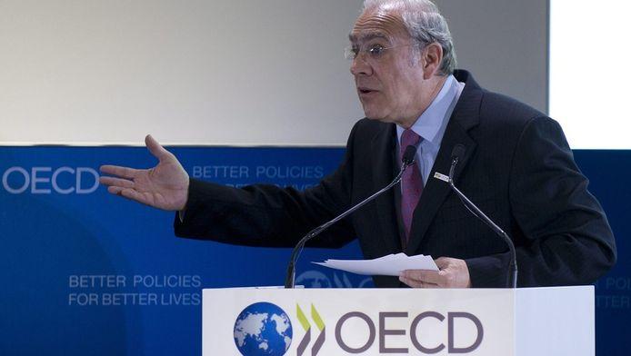 De Mexicaan Angel Gurria, algemeen secretaris van de OESO, vandaag tijdens zijn openingsspeech op het OESO-forum in Parijs.