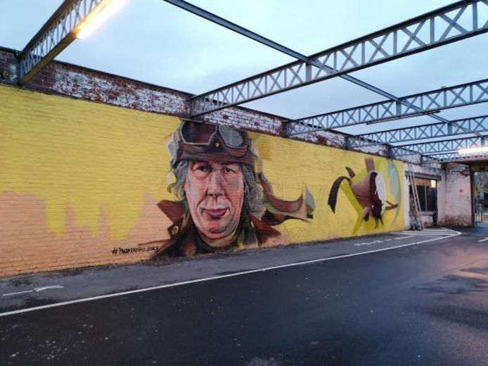 Dit graffitiwerk schittert op één van de muren van CC De Ververij.