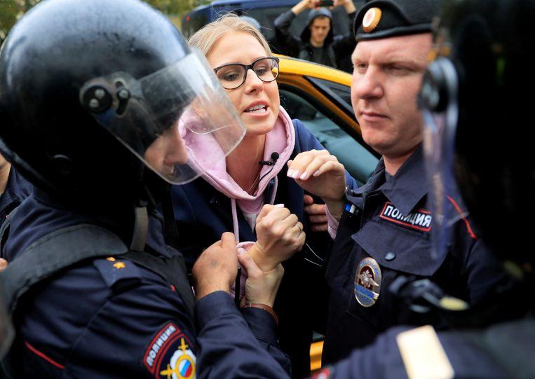 Ljoebov Sobol tijdens een demonstratie in Moskou. Beeld Reuters