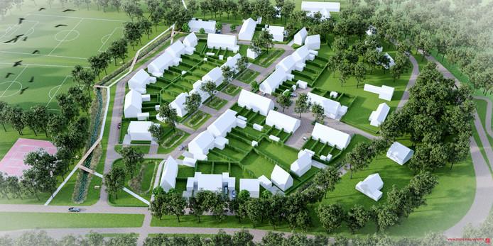 Een eerste impressie van de wijk Gerwen ZO. Die geeft vooral een beeld van het totaalplan; hoe de huizen er precies uit komen te zien, is nog niet bekend.