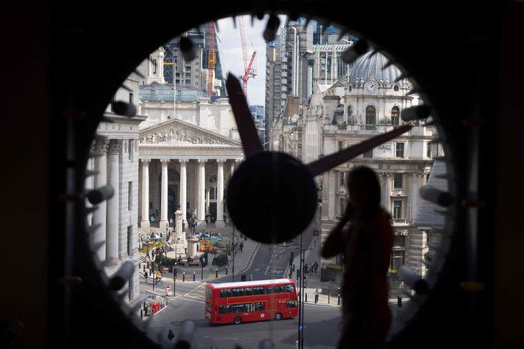Uitzicht op het zakencentrum van Londen, vanuit het gebouw van WeWork. Beeld AFP