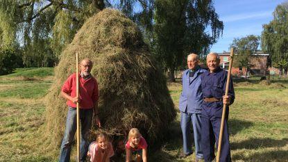 Landbouwers leren kinderen hooiruiter maken