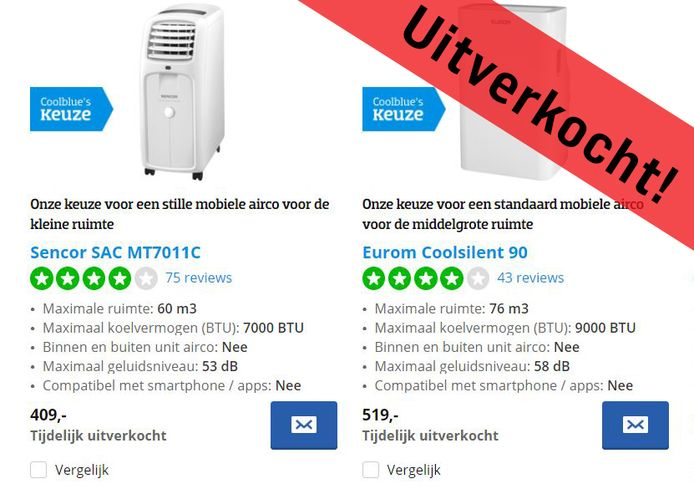 Airconditioners zijn massaal uitverkocht. Bij webgigant Coolblue zijn zelfs álle 27 airco's 'tijdelijk uitverkocht'.