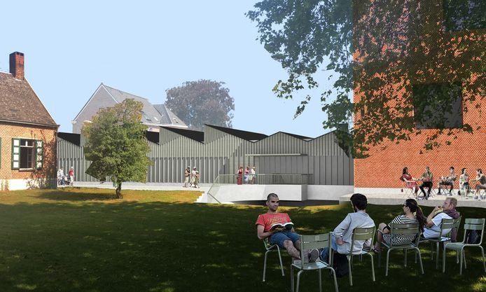 Tussen het vredegerecht en het nieuwe vrijetijdscentrum komt een padje naar een gezellige tuin.