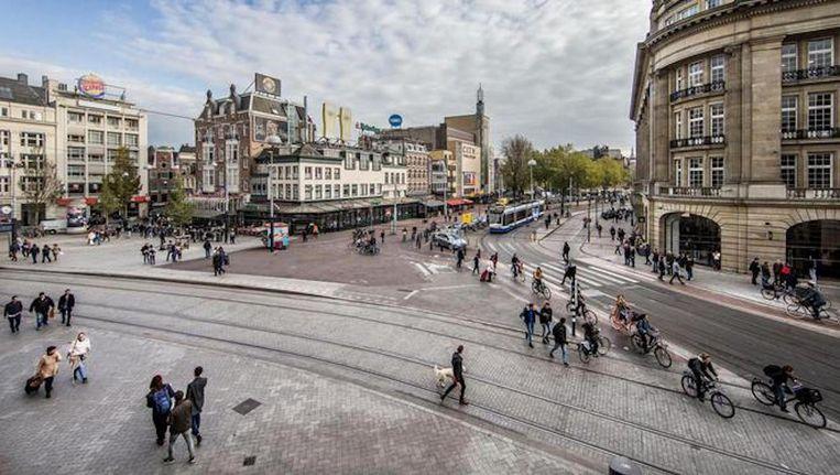 Het 'nieuwe' Leidseplein, bezien vanaf de Stadsschouwburg Beeld Jean-Pierre Jans