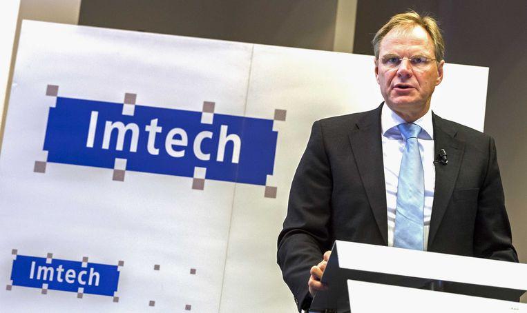 CEO Gerard van de Aast tijdens de presentatie van de halfjaarcijfers van technisch dienstverlener Imtech. Beeld ANP