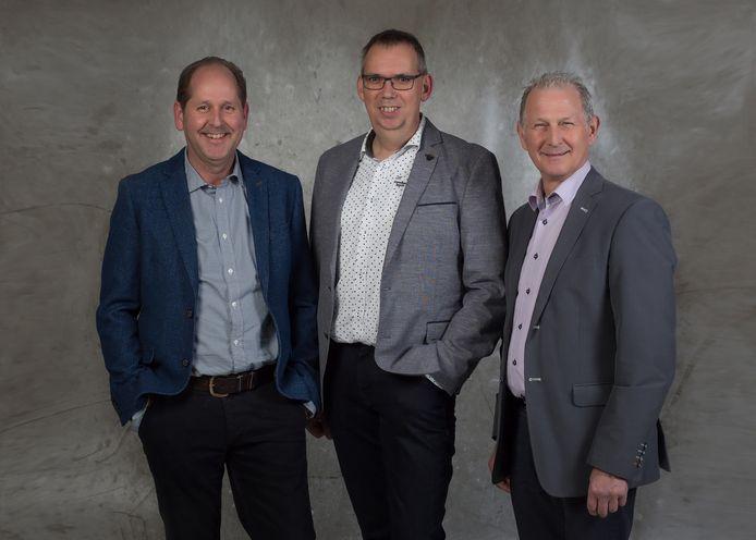 Rob Houweling, Marko Konings en Ad Donkers, de eerste drie kandidaten op de lijst van politieke partij Blanco in Bernheze bij de verkiezingen van 2018.